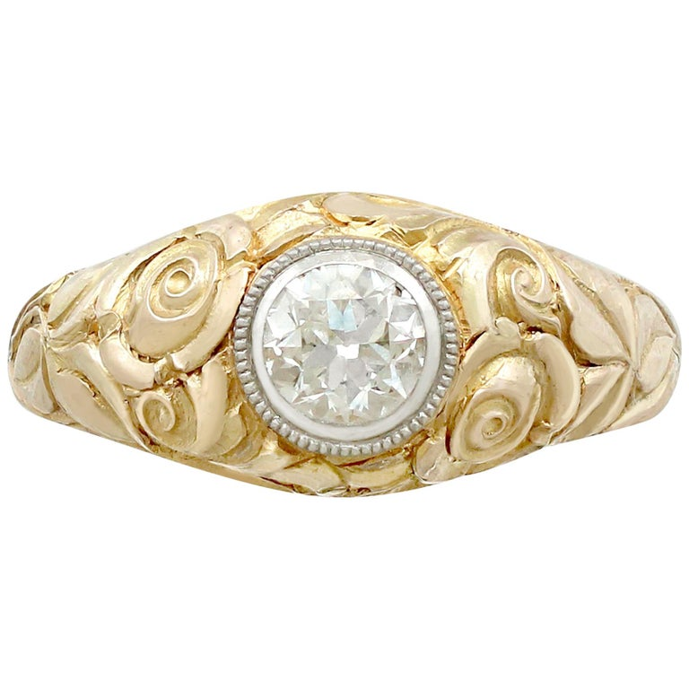 Antique Engagement Rings For Sale: Antique Diamond And Yellow Gold Solitaire Engagement Ring