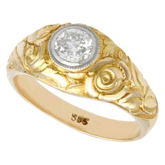 Antique Diamond and Yellow Gold Solitaire Engagement Ring
