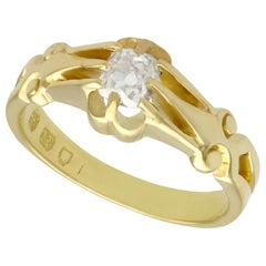 Antique Diamond and Yellow Gold Solitaire Ring
