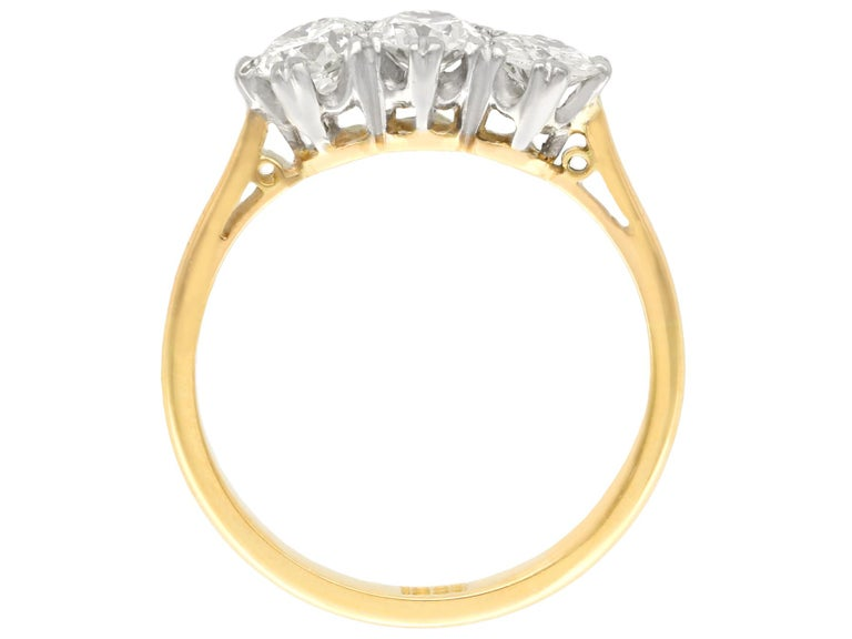 Women's or Men's Antique Diamond and Yellow Gold Trilogy Ring, Circa 1930 For Sale