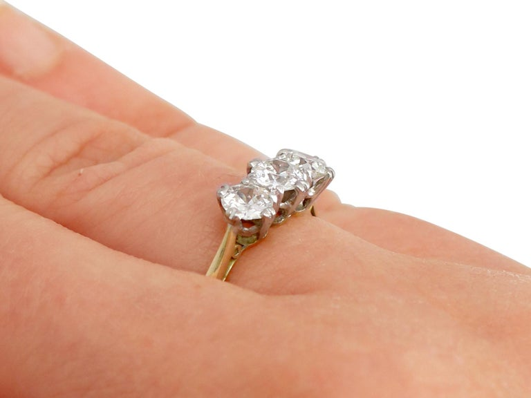 Antique Diamond and Yellow Gold Trilogy Ring, Circa 1930 For Sale 3