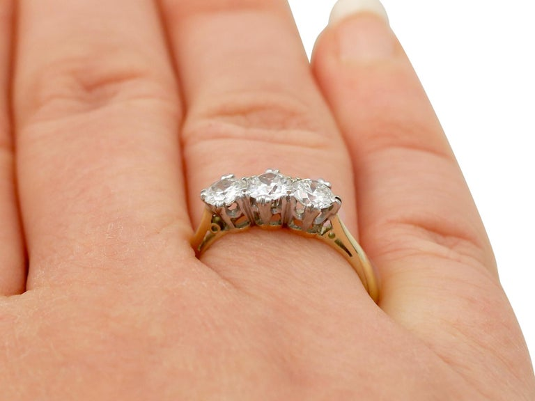 Antique Diamond and Yellow Gold Trilogy Ring, Circa 1930 For Sale 4
