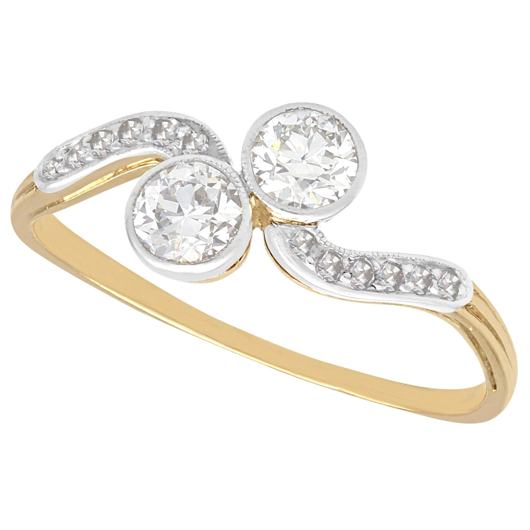 Antique Diamond and Yellow Gold Twist Engagement Ring