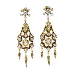 Antique Diamond Black Enamel Yellow Gold Drop Earrings