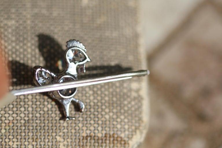 Women's or Men's Antique Diamond Chicken Platinum Brooch For Sale