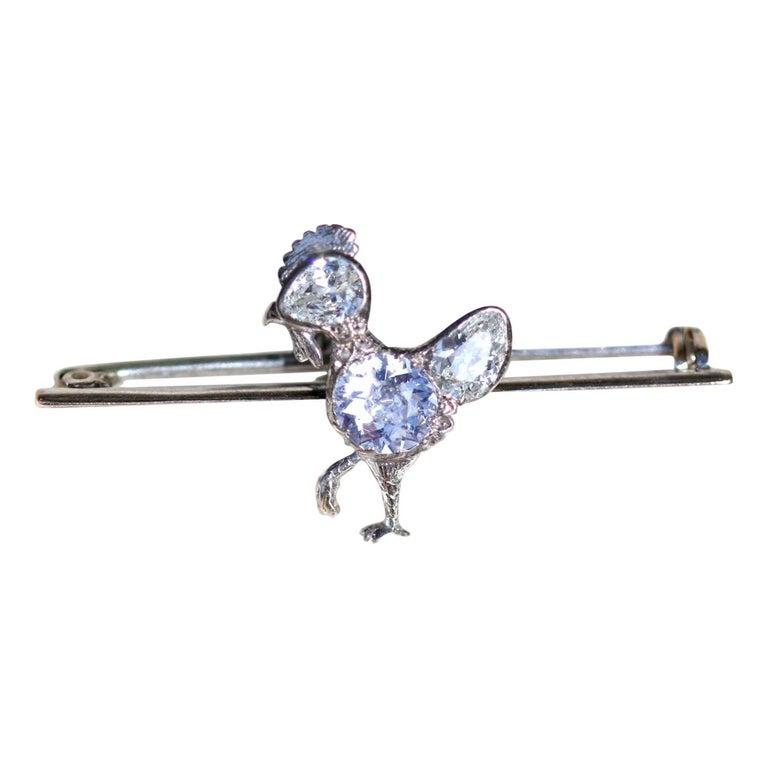 Antique Diamond Chicken Platinum Brooch For Sale
