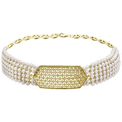 Antique Diamond Choker Necklace with Pearls, 18 Karat Yellow Gold Bridal