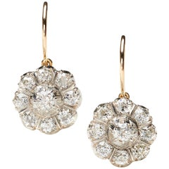 Antique Diamond Silver and Gold Cluster Drop Earrings, Circa 1880