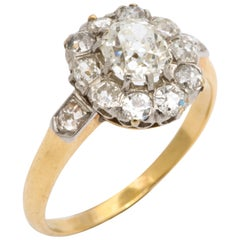 Antique Diamond Cluster Gold Ring