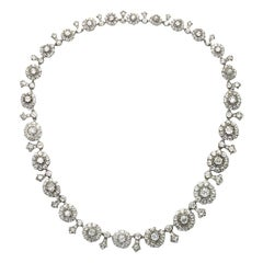 Antique Diamond Cluster Necklace