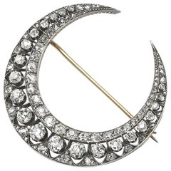 Antique Diamond Crescent Brooch, circa 1890