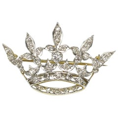 Antique Diamond Crown Brooch