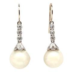 Antique Diamond Cultured Pearl 18 Karat White Gold Drop Earrings