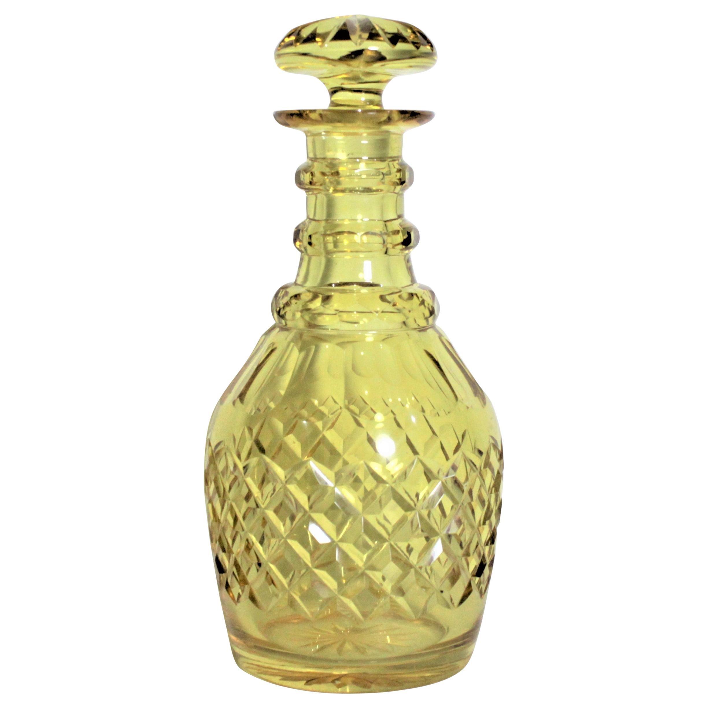 Antique Diamond Cut Crystal Yellow Glass Liquor Decanter or Bottle