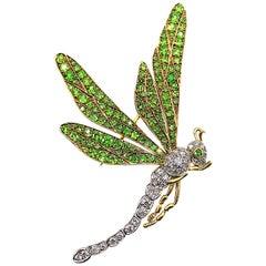 Antique Diamond Demantoid Garnet Platinum-Topped 18 Karat Gold Dragonfly Brooch