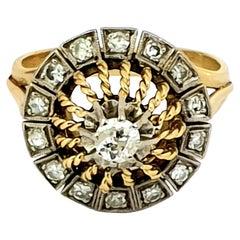 Antique Diamond Dome Ring 18 Karat Yellow Gold