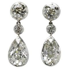 Antique Diamond Drop Earrings, 11.65 Carats, circa 1810