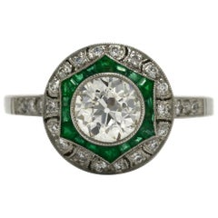 Antique Diamond Emerald Engagement Ring Art Deco Style Dome 2 Ctw Old Mine Cut