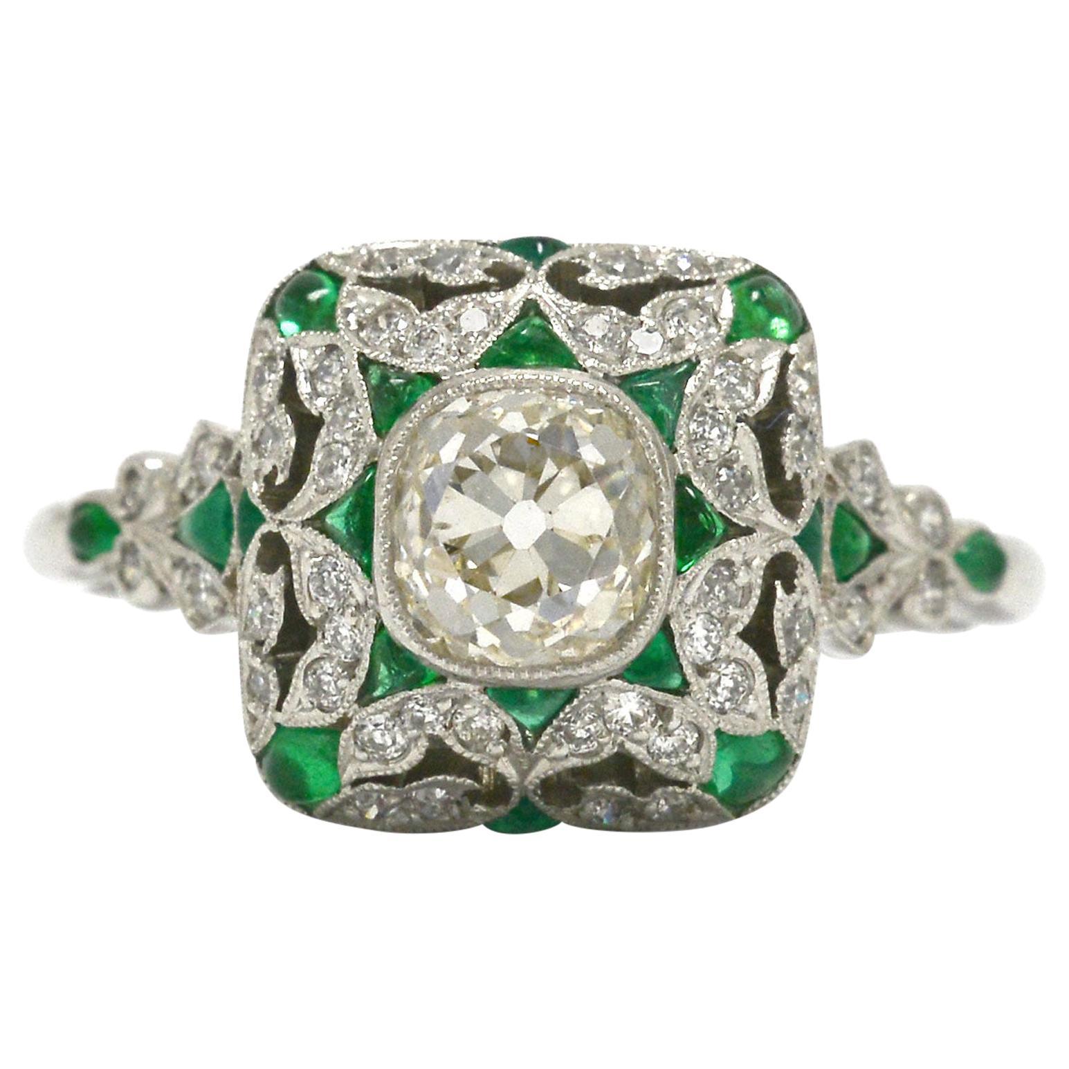 Art Deco Style Diamond Emerald Engagement Ring Old Mine Cut 1 Carat Cocktail