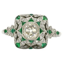 Revival Art Deco Diamond Emerald Engagement Ring Old Mine Cut 1 Carat Cocktail
