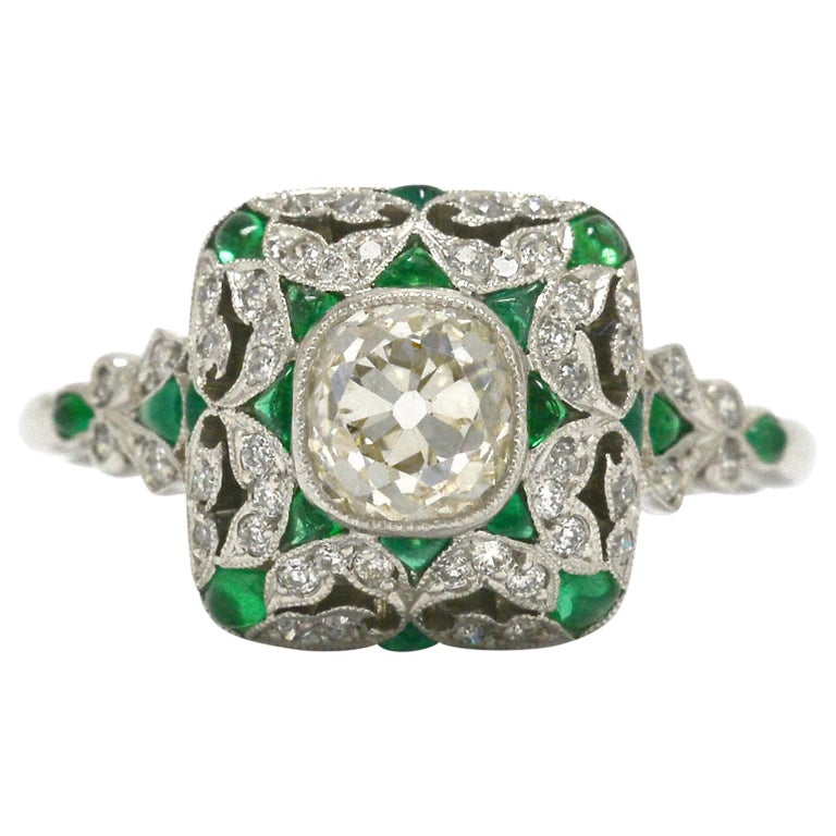 Art Deco Style Diamond Emerald Engagement Ring Old Mine Cut 1 Carat Cocktail For Sale