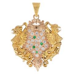 Antique Diamond Emerald Gold Griffin Pendant