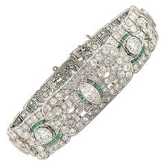 Antique Diamond Emerald Platinum Bracelet