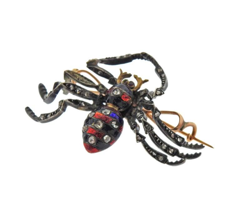 Rose Cut Antique Diamond Enamel Silver Gold Spider Brooch For Sale