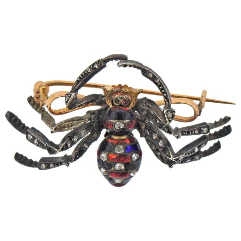 Antique Diamond Enamel Silver Gold Spider Brooch For Sale