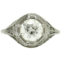 Antique Diamond Engagement Ring 1.55 Carat Solitaire Old European GIA Certified