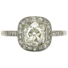 Antique Diamond Engagement Ring 2.20 Carat Old Mine Cushion Art Deco Revivalist