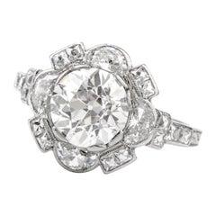 Antique Diamond Floral Motif Platinum Engagement Cocktail Ring
