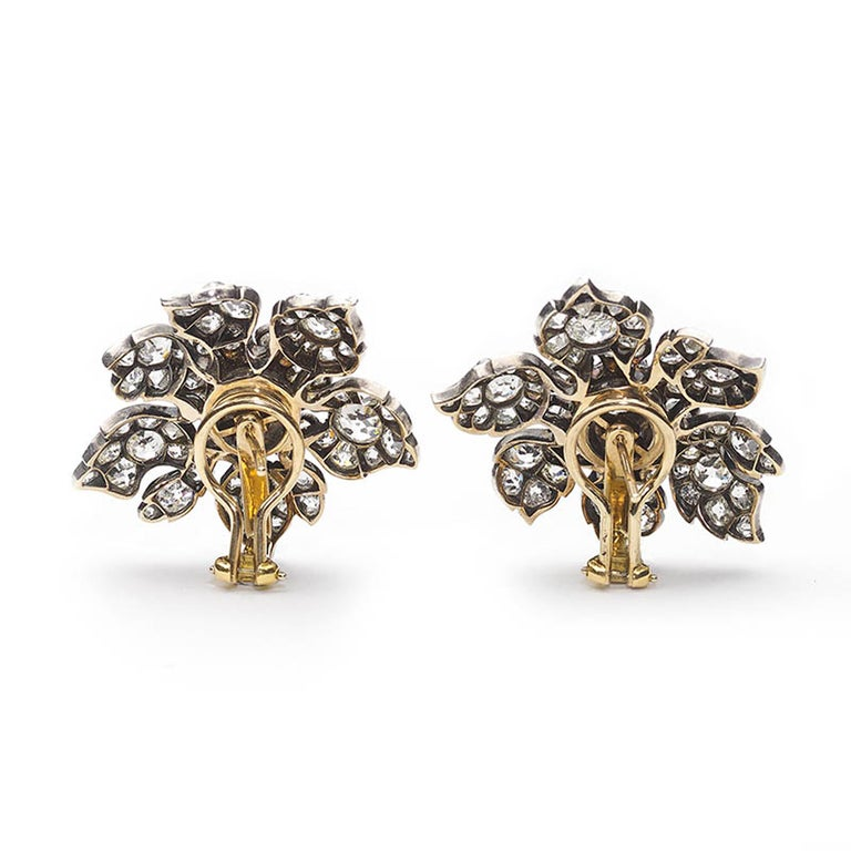 Victorian Antique Diamond Flower Earrings, circa 1880 For Sale