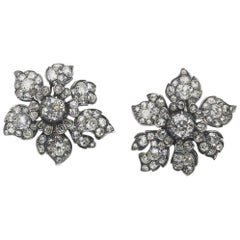 Antique Diamond Flower Earrings, circa 1880