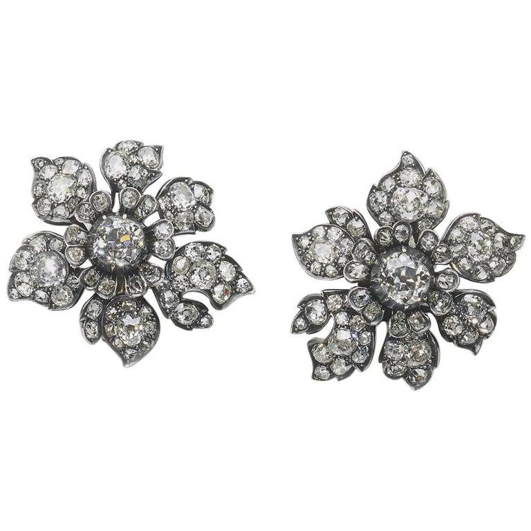 Antique Diamond Flower Earrings, circa 1880 For Sale
