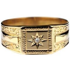 Antique Diamond Gentleman Signet Ring, 18 Carat Gold British Hallmarked 1864