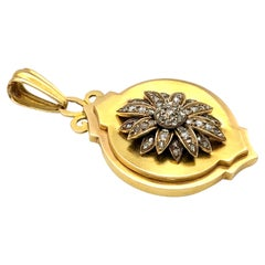 Antique Diamond Gold Flower Locket Pendant