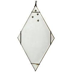 Antique Diamond Gold Gilt Iron Wall Mirror Italy 1920s Stars