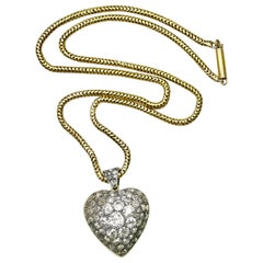 Antique Diamond Gold Heart Pendant Locket Necklace