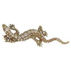 Antique Diamond Gold Lizard Brooch