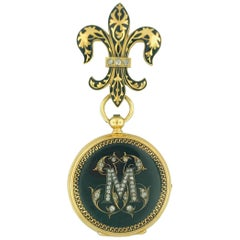 "Antique French Diamond ""M"" & Fluer de Lis Watch Pin, 18 Karat Gold Circa 1800"