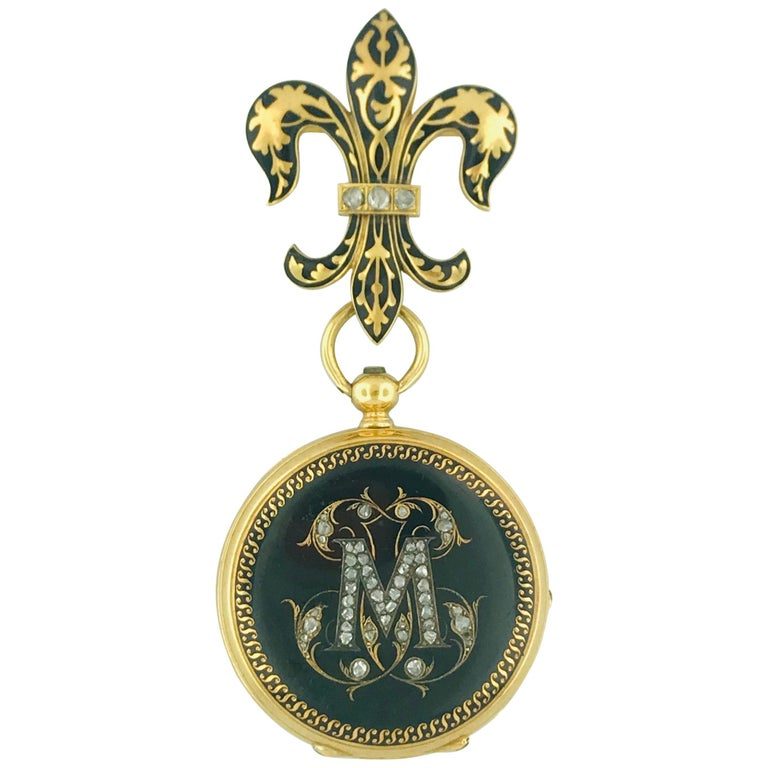 "Antique French Diamond ""M"" & Fluer de Lis Watch Pin, 18 Karat Gold Circa 1800 For Sale"