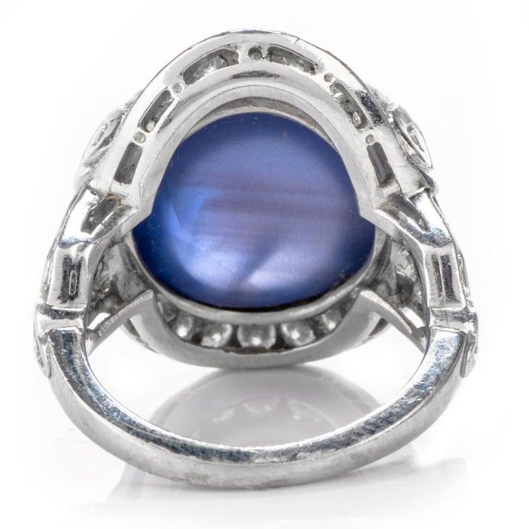 Art Deco Antique Diamond No-Heat Burma Blue Star Sapphire Gothic Style Platinum Cocktail For Sale