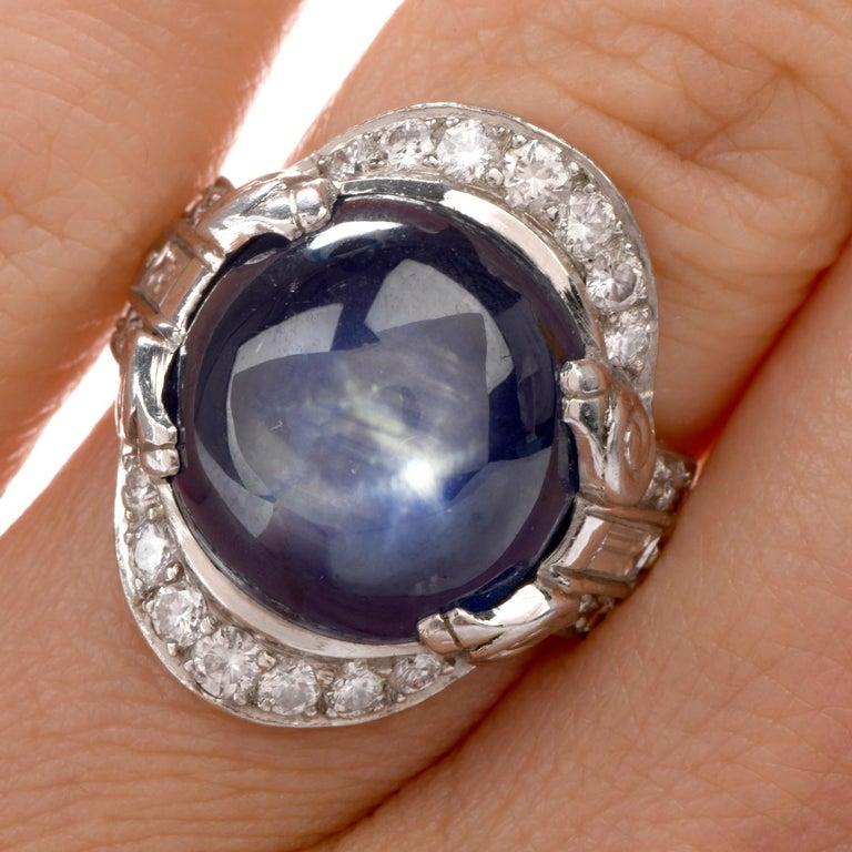 Women's or Men's Antique Diamond No-Heat Burma Blue Star Sapphire Gothic Style Platinum Cocktail For Sale