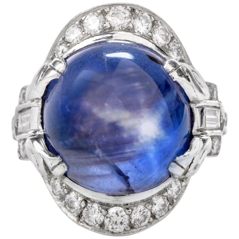 Antique Diamond No-Heat Burma Blue Star Sapphire Gothic Style Platinum Cocktail For Sale