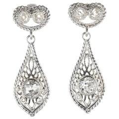 Antique Diamond Open Work Platinum Dangle Earrings