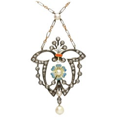 Antique Diamond Pearl and Enamel Yellow Gold and Silver Pendant