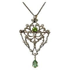 Antique Diamond Pearl and Peridot Necklace in 14K White Gold