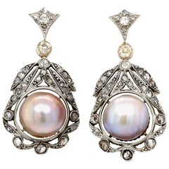 Antique Diamond Pearl Gold Drop Earrings
