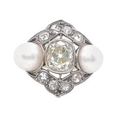 Antique Diamond Pearl Gold Ring
